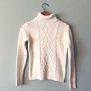 White Cable Knit Ribbed Turtleneck Sweater